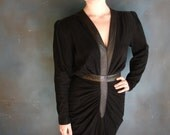1980's, Lotus dress, black suede, leather trim, disco, from Diz Has Neat Stuff