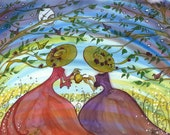 Teatime in the Orchard . Kitchen Artwork . Tea for Two Friends