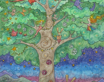 The Enchanted Tree . Magic Tree Art Print . Foxes . Fairies . Children's Illustration . Nursery Art . Child's Space Art . Small Print