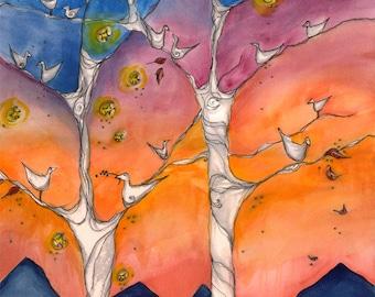 Bird Tree . Tiny Birds and Sunset Mountains . Bold and Bright Art Print