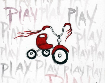 Play . Little Red Bike Tricycle . Boys or Girls Room Decor