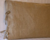 "26 X 26 Euro Burlap Pillow Shams with Tie Closure 26"" X 26""- Lined"