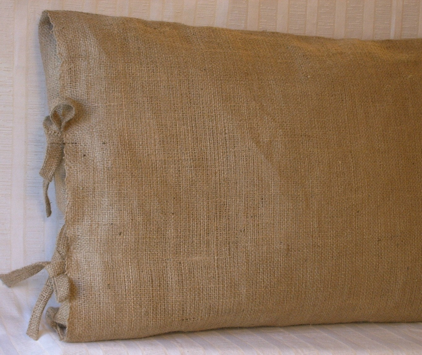2 king burlap pillow shams with tie closure 36 x. Black Bedroom Furniture Sets. Home Design Ideas