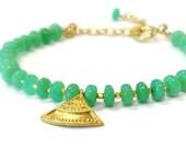 Chrysoprase Bracelet Green Bracelet Gold Vermeil Jewelry Gemstone Jewellery Bright Elegant Dainty Layer Stack Spring Fashion Fan Charm B-173