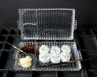 Sushi trays, sushi plates, vintage glass luncheon plates