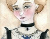 Miss Lydia the Tattooed Lady, Victorian Tattoed Lady Portrait Illustration (6x8) Art Print