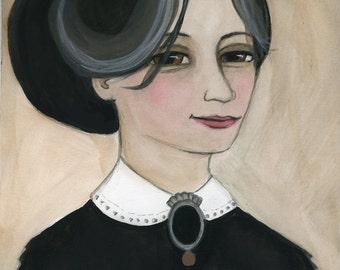 Victorian Portrait, 19th Century Lady, Gothic Writer Illustration (6x8) Miss Eleanor