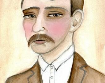 Silas, Victorian Gentleman Illustration Mob Accountant Watercolor Portrait Art Print (6x8)