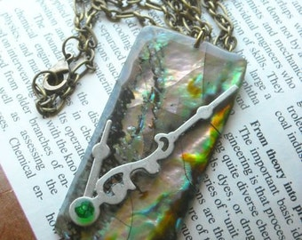 Abalone Time Atlantis Necklace - Rectangular Abalone Shell Pendant With Silver Clock Hands