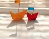 Cheerful nursery decor, colorful paper boats, red and yellow, origami photograph, 5x5 - titled: We Sail Together