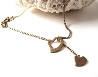 Avon Heart Necklace / Sale 75% off/ Gold Heart / Double Heart / Sweet Heart / Lariat Necklace