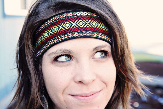 The Indie Printed Headband, thick boho style, elastic closure, Reversible, Aztec, Native Style, Bohemian Print