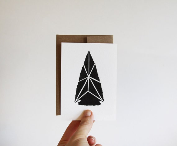 Arrowhead Card, 4 bar block printed card