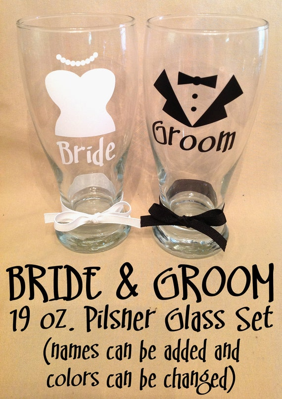 Personalized BRIDE and GROOM PILSNER Wedding Glass Set with Tuxedo Bridal Gown Free Shipping