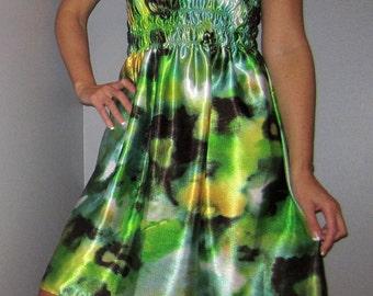 green strapless satin dress - summer greens