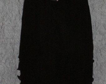 Black 5 Layer Crinkle Silk Chiffon Skirt Size Medium to Large