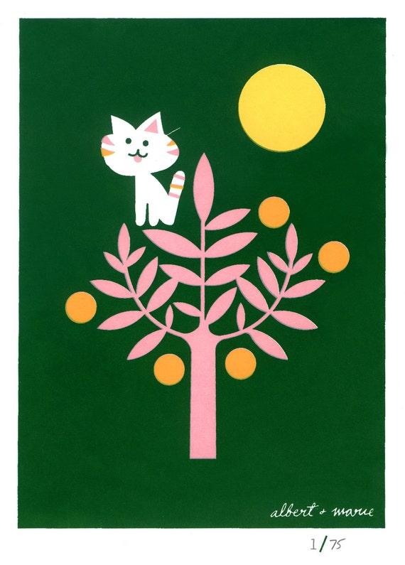 Kitty & Citrus - 5x7 Screen Print