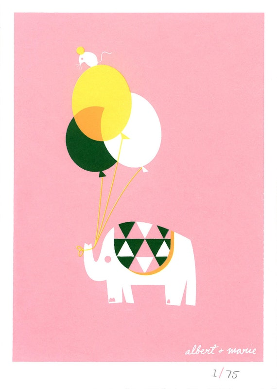 Balloon & Elephant - 5x7 Screen Print