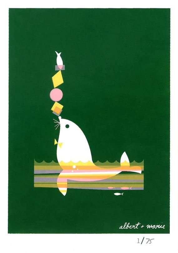 Fish & Seal - 5x7 Screen Print