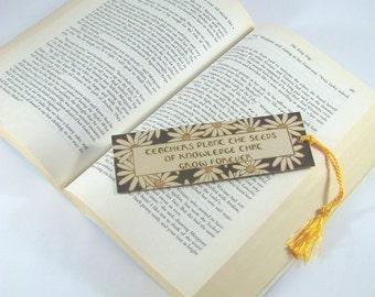 Teacher Wood Bookmark - Hand Pyrography - Teacher Quote