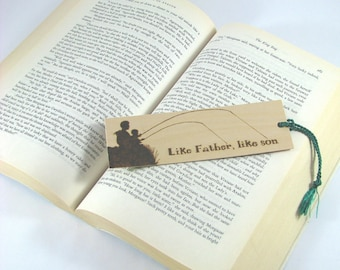 Fishing Wood Bookmark - Hand Pyrography - Dad Son Quote