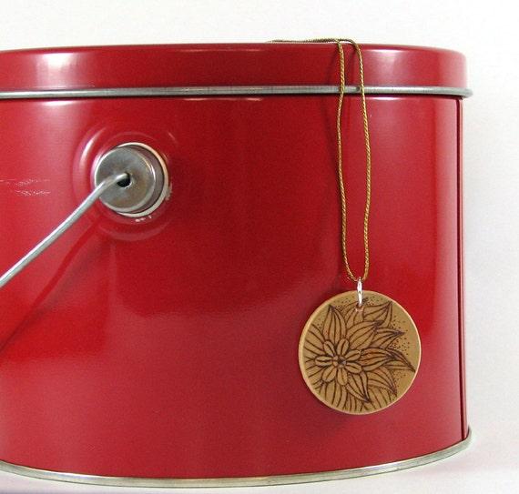 Wood flower Pendant II - wood pyrography - wooden jewelry
