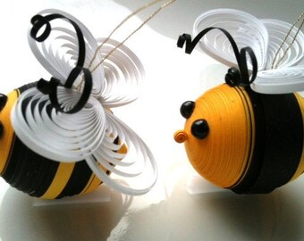 Bee Easter Ornaments Paper Quilled in Black and Yellow