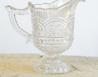 Vintage French Molded or Pressed Glass Milk or Cream Pitcher Pot