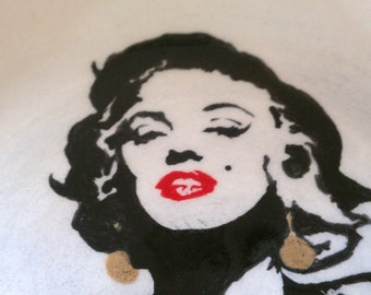 Ceramic Marilyn plate wheel thrown hand painted