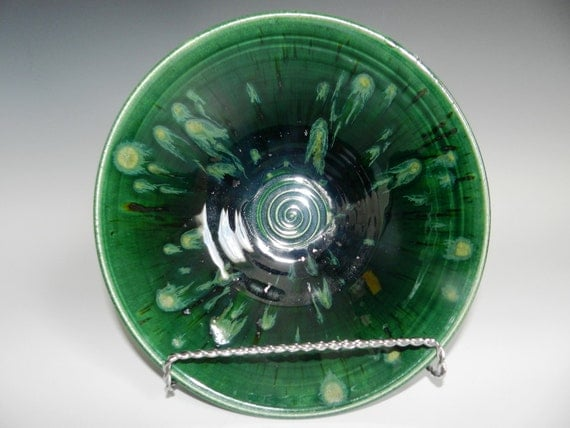 Emerald green bowl with crystal glaze