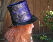 Purple Leather Steampunk Tophat with Gears - Designed by Brian Scott at BSD Studios