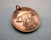 Piglet charm - Little PIG COIN - Bermuda - piglet - Year of the Pig - Piglet Grimm - pig charm - pig pendant - copper charm - pig jewelry