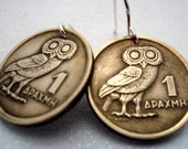 Coin Jewelry - OWL of Athena COIN Earrings - 1973 Greek coins - phoenix rising - bronze coins on nickel free sterling earwires