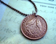 1950 1954 1959 Bird coin jewelry - Vintage South Africa SPARROW coin necklace - one farthing, King George VI, Cape Sparrow birds Love Birds