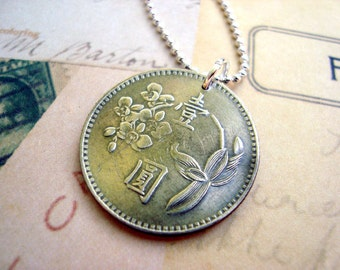 Orchid necklace. Coin necklace. Coin Jewelry. Vintage 1970s Taiwan COIN. flower necklace. orchid jewelry. kanji necklace.