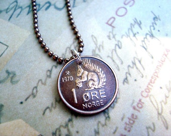 Coin Jewelry - Vintage 1970 SQUIRREL COIN from Norway - coin necklace - squirrel necklace - squirrel jewelry - acorn necklace - coin pendant