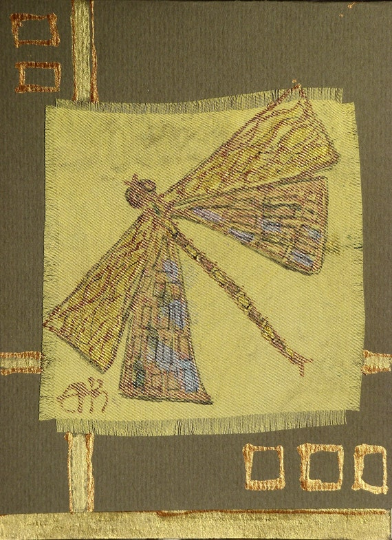 Egyptian dragonfly - handmade blank greeting card for any occasion