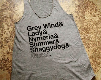 Game of Thrones // Direwolves of Winterfell // Ladies Racerback Tank Top (Gray)