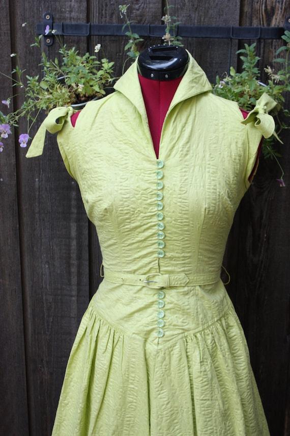 Vintage 1950's Avocado Green Garden Party  Cocktail Sun Dress XS/S