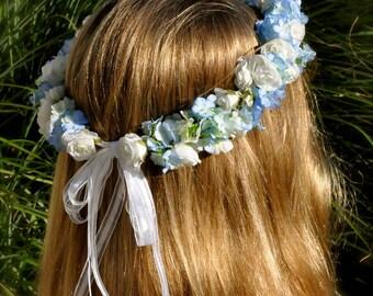 Flower Girl, First Communion,Wedding Flowers, White and Blue flower girl hair wreath, Holly's Flower Shoppe.