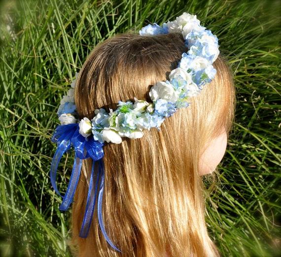 Flower Wreaths For Weddings: Silk Flower Girl Wreath First Communion Halo Wedding
