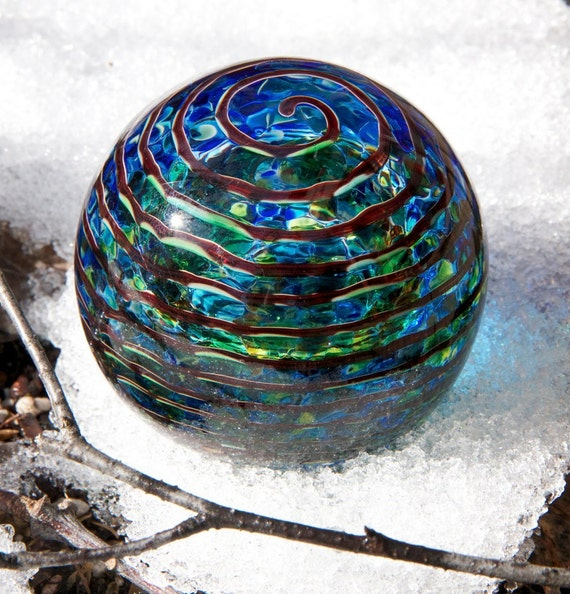 Earthy Blue / Green Paperweight with Ruby Spiral