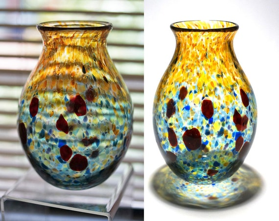 SALE: Hand Blown Tall Glass Vase - Amber Blue and Green