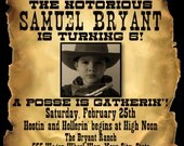 Wanted Poster Style Birthday Invitation - Digital File