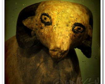 Art Print of Egyptian Star Eyed Ram - Antique Toy Photography Print - 8x8 Square