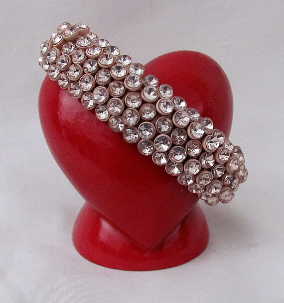 Hold for Deb - Very Vintage Coral Enameled Rhinestone Stretchable Bracelet - Circa 1930s - WOW Factor