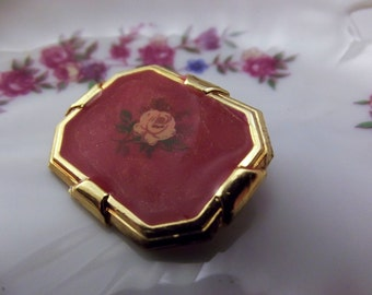Vintage Art deco enamel flower brooch rectangular brooch with red orange enamel and a pink rose in gold tone.  wear or repurpose
