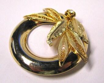 Vintage crystal rhinestone layered rose and leaf circular brooch in gold tone wear or repurpose, Wreath Scarf Pin
