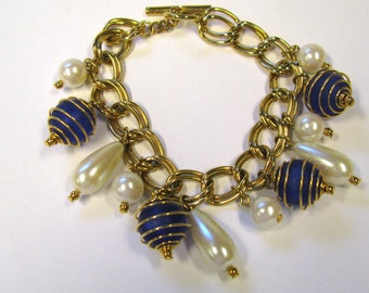 Vintage cobalt blue frosted Glass Bead and White Pearl Tear drop and Lusterous Round Pearl double link charm bracelet gold tone