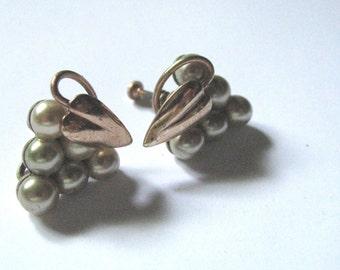 Vintage Faux Pearl & Copper Screw Back Earrings